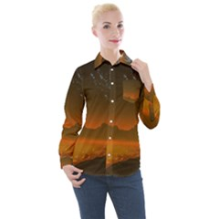 Galaxy Galaxies Bump Together Lava Women s Long Sleeve Pocket Shirt