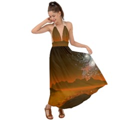 Galaxy Galaxies Bump Together Lava Backless Maxi Beach Dress