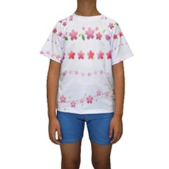 Sakura Border Cherry Blossom Kids  Short Sleeve Swimwear by Simbadda