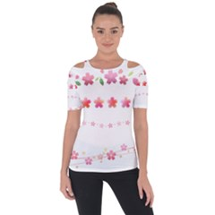 Sakura Border Cherry Blossom Shoulder Cut Out Short Sleeve Top