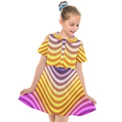 Wave Line Waveform Sound Orange Kids  Short Sleeve Shirt Dress