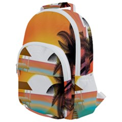 Sunset Beach Beach Palm Ocean Rounded Multi Pocket Backpack by Simbadda