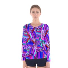 Stars Beveled 3d Abstract Women s Long Sleeve Tee