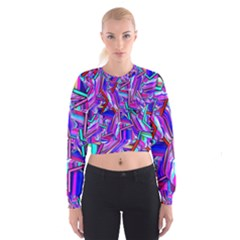 Stars Beveled 3d Abstract Cropped Sweatshirt