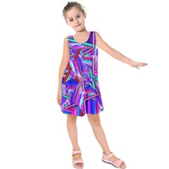 Stars Beveled 3d Abstract Kids  Sleeveless Dress by Mariart