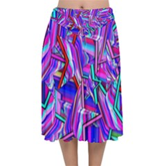 Stars Beveled 3d Abstract Velvet Flared Midi Skirt by Mariart
