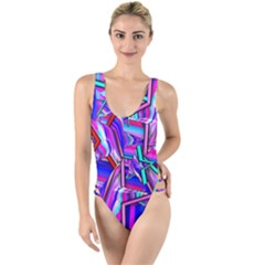 Stars Beveled 3d Abstract High Leg Strappy Swimsuit