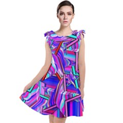 Stars Beveled 3d Abstract Tie Up Tunic Dress