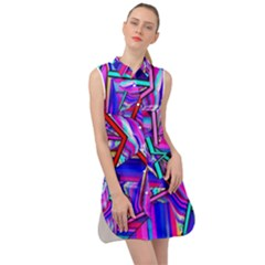 Stars Beveled 3d Abstract Sleeveless Shirt Dress by Mariart