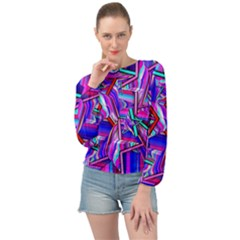 Stars Beveled 3d Abstract Banded Bottom Chiffon Top by Mariart