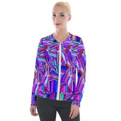 Stars Beveled 3d Abstract Velour Zip Up Jacket by Mariart