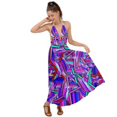 Stars Beveled 3d Abstract Backless Maxi Beach Dress