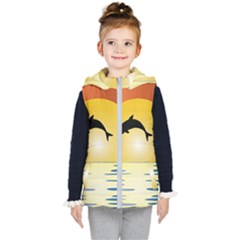 Ocean Sunset Dolphin Palm Tree Kids  Hooded Puffer Vest by Simbadda