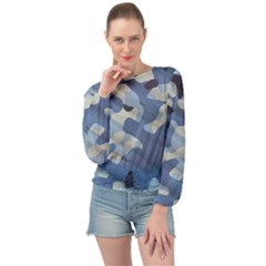 Tarn Blue Pattern Camouflage Banded Bottom Chiffon Top