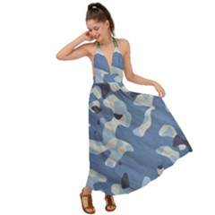 Tarn Blue Pattern Camouflage Backless Maxi Beach Dress by Alisyart