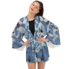 Tarn Blue Pattern Camouflage Long Sleeve Kimono by Alisyart