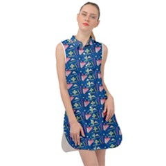 Memphis Pattern Sleeveless Shirt Dress by Simbadda