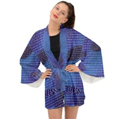 Binary Digitization Null Long Sleeve Kimono by AnjaniArt