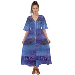 Binary Digitization Null Kimono Sleeve Boho Dress by AnjaniArt