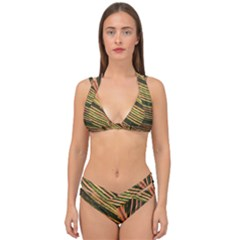 Leaf Patten Lines Colorful Plant Double Strap Halter Bikini Set by Simbadda