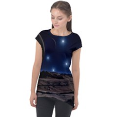 Lunar Landscape Star Brown Dwarf Cap Sleeve High Low Top by Simbadda