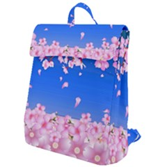 Sakura Cherry Blossom Night Moon Flap Top Backpack by Simbadda