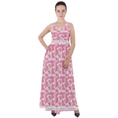 Peony Pattern Pink Scrapbookin Empire Waist Velour Maxi Dress