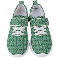Green Abstract Geometry Pattern Women s Velcro Strap Shoes by Simbadda