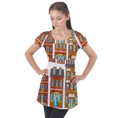 City Buildings Brick Architecture Puff Sleeve Tunic Top by Simbadda