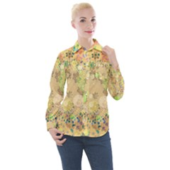 Flowers Color Colorful Watercolour Women s Long Sleeve Pocket Shirt