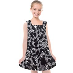 Unfinishedbusiness Black On White Kids  Cross Back Dress by designsbyamerianna