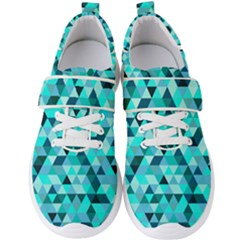 Teal Triangles Pattern Men s Velcro Strap Shoes by LoolyElzayat
