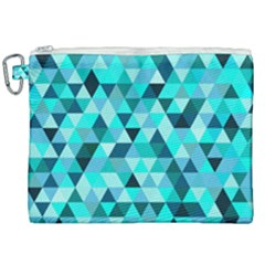 Teal Triangles Pattern Canvas Cosmetic Bag (xxl) by LoolyElzayat