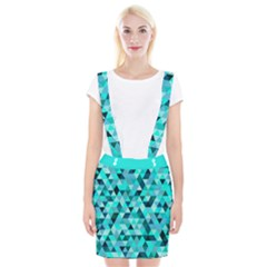 Teal Triangles Pattern Braces Suspender Skirt by LoolyElzayat