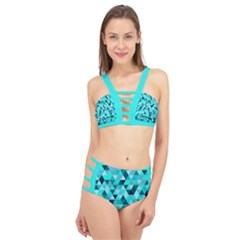 Teal Triangles Pattern Cage Up Bikini Set by LoolyElzayat