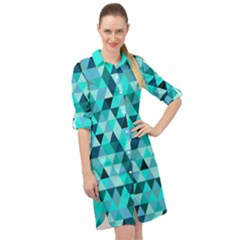Teal Triangles Pattern Long Sleeve Mini Shirt Dress