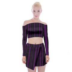 Deep Purple Pinstripe Off Shoulder Top With Mini Skirt Set by designbywhacky