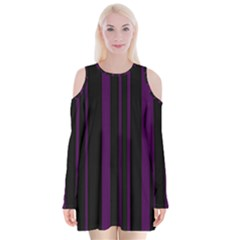 Deep Purple Pinstripe Velvet Long Sleeve Shoulder Cutout Dress