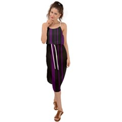Deep Purple Pinstripe Waist Tie Cover Up Chiffon Dress