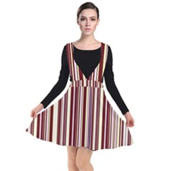 Burgundy Pinstripe Plunge Pinafore Dress by designbywhacky