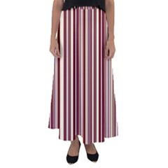 Burgundy Pinstripe Flared Maxi Skirt by designbywhacky