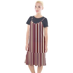 Burgundy Pinstripe Camis Fishtail Dress by designbywhacky