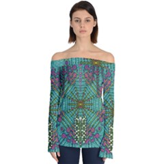 The Most Beautiful Rain Over The Stars And Earth Off Shoulder Long Sleeve Top by pepitasart
