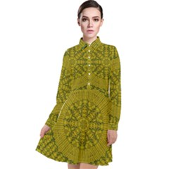 Flowers In Yellow For Love Of The Nature Long Sleeve Chiffon Shirt Dress