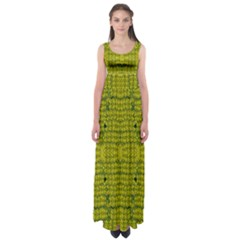 Flowers In Yellow For Love Of The Decorative Empire Waist Maxi Dress by pepitasart