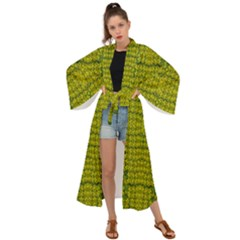 Flowers In Yellow For Love Of The Decorative Maxi Kimono