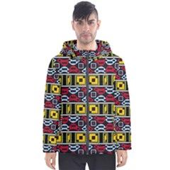 Rectangles And Other Shapes Pattern                                    Men s Hooded Puffer Jacket by LalyLauraFLM