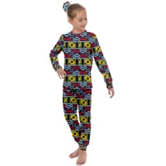 Rectangles And Other Shapes Pattern                                 Kids  Long Sleeve Set by LalyLauraFLM