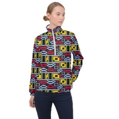 Rectangles And Other Shapes Pattern                                    Women Half Zip Windbreaker by LalyLauraFLM