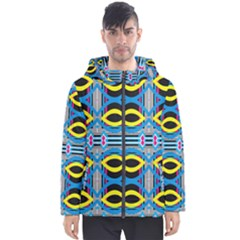 Yellow And Blue Ovals                                     Men s Hooded Puffer Jacket by LalyLauraFLM